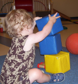 Building with Soft Blocks in the Infant/Toddler Gym